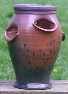 Ceramic handmade Strawberry Pot with lavender.