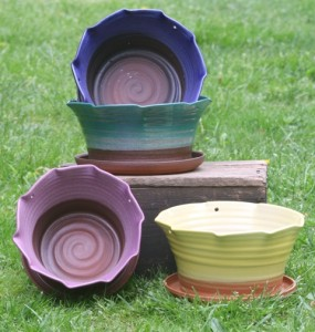 Colorful Assortment of handmade Flower Pots.