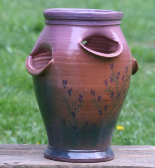 Large Glazed Strawberry Planter