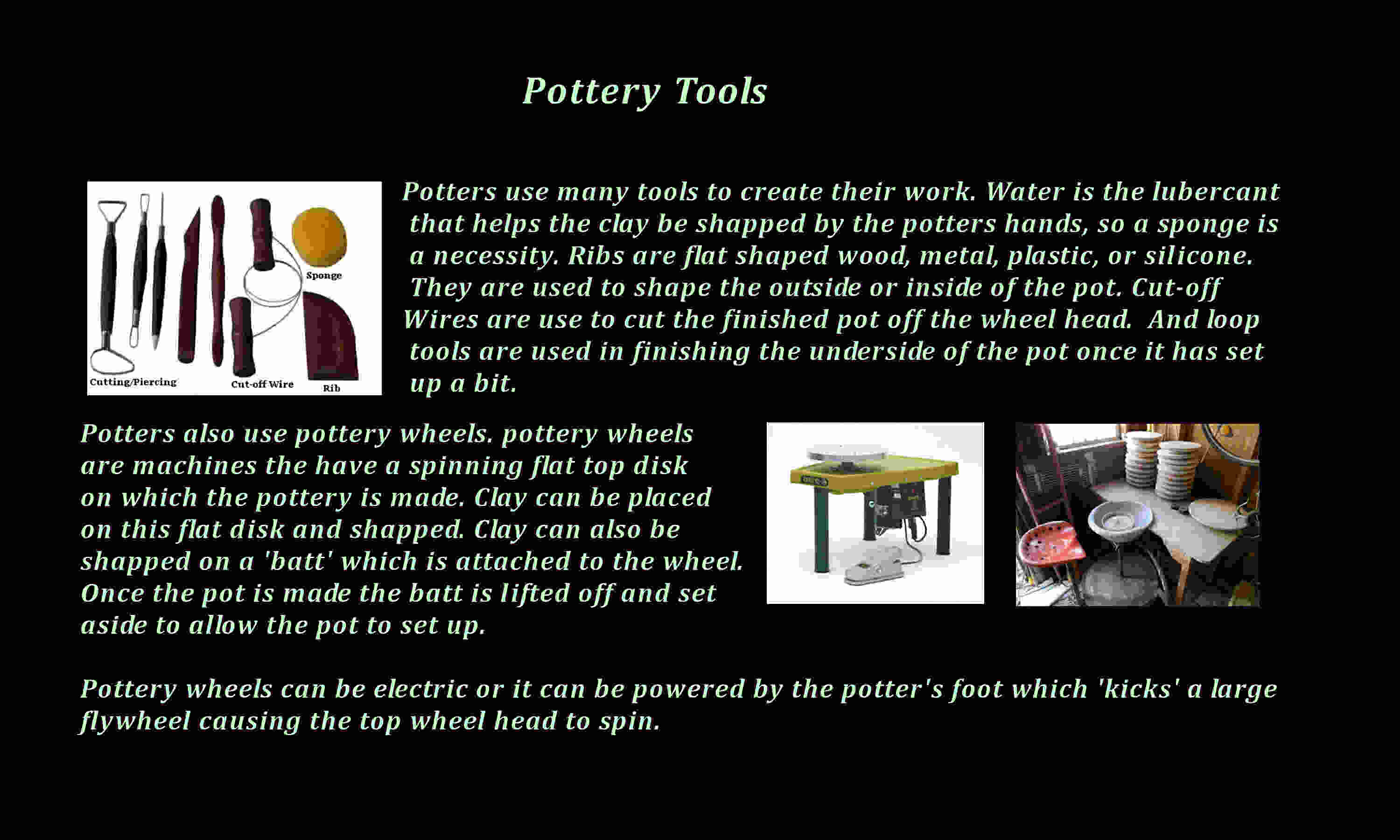 What kind of tools does a potter use?