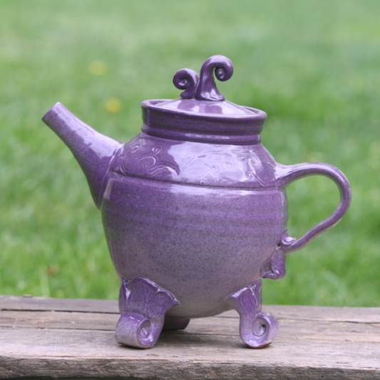 Purple Pottery Teapot