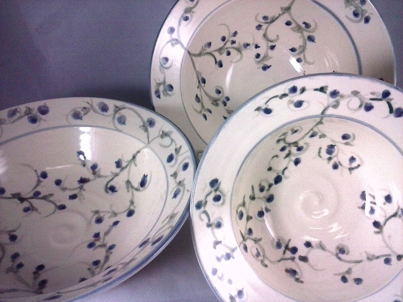 Hand Painted Blueberry Bowls