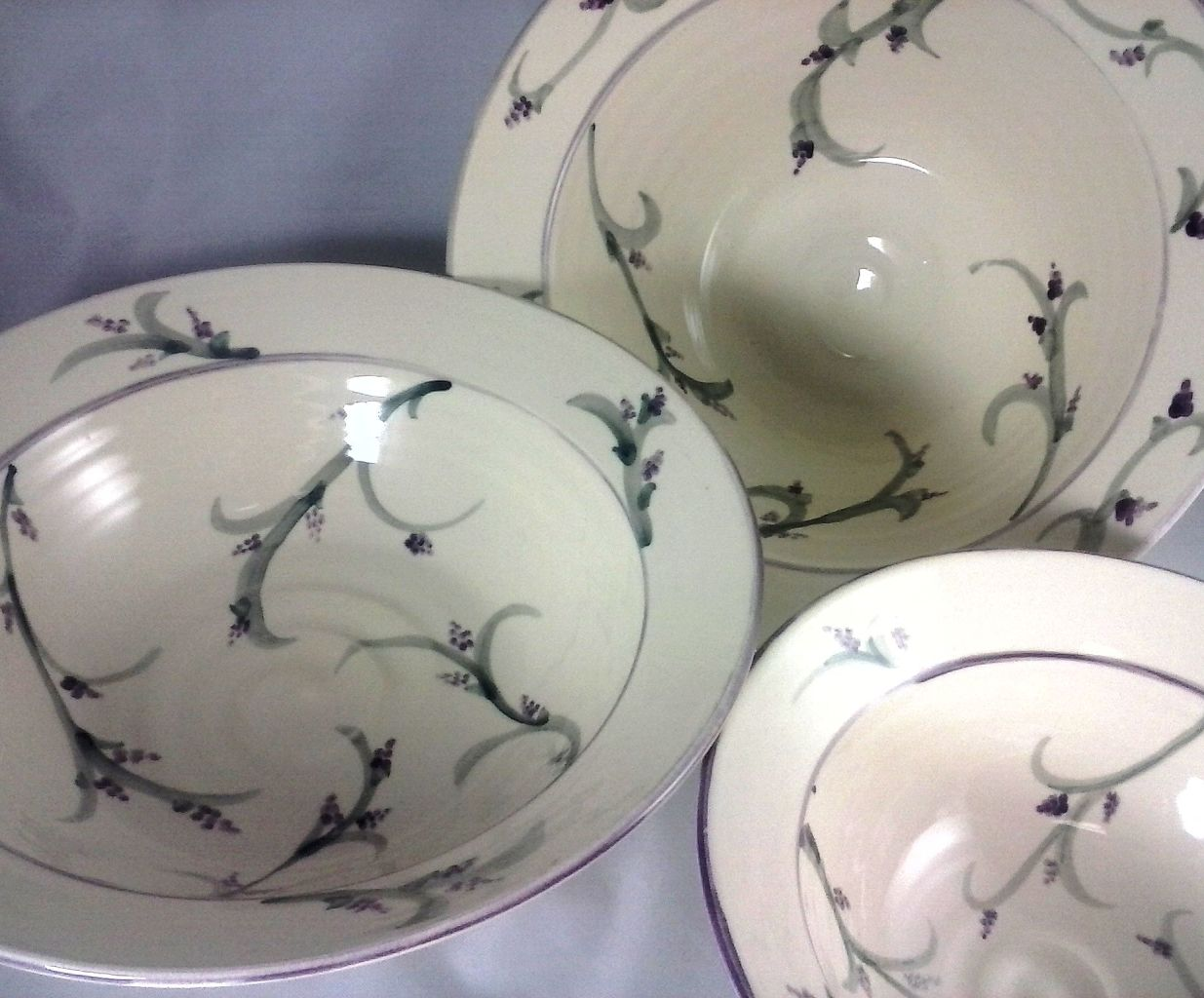 Hand Painted Lavender Pottery Bowls