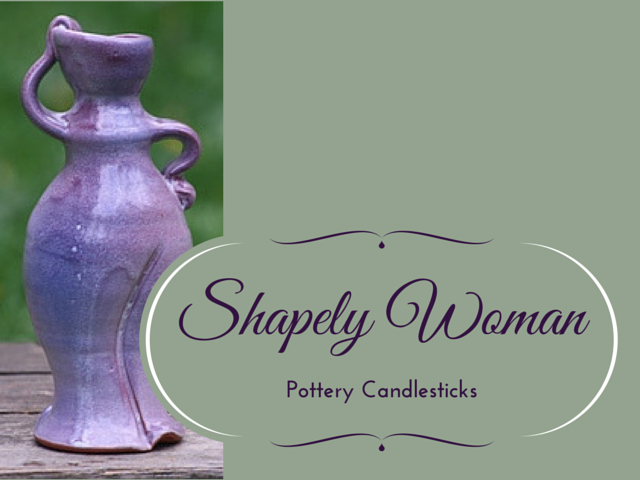 """Shapely Woman"" pottery candlesticks"
